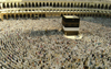 Mecca / Makkah, Saudi Arabia: Muslims get ready to pray at Haram Mosque, facing the Kaaba during Hajj, the fifth pillar of Islam - non-muslims are not allowed to enter Haram Mosque or Mecca - photo by A.Faizal